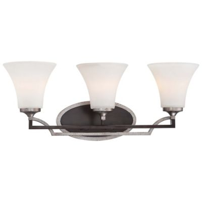 Minka Lavery® Astrapia 3-Light Bath Fixture in Dark-Rubbed Sienna/Aged Silver with Glass Shades
