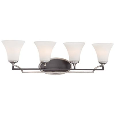 Minka Lavery® Astrapia 4-Light Bath Fixture in Dark-Rubbed Sienna/Aged Silver with Glass Shades