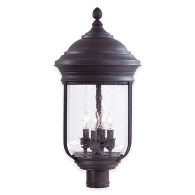 Minka Lavery® Amherst™ 4-Light Post-Mount Outdoor Lantern in Roman Bronze™