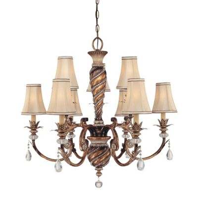 Minka Lavery® Aston Court™ 9-Light Chandelier in Bronze with Fabric Shade