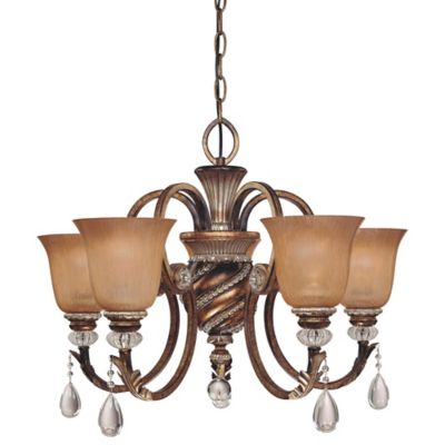 Minka Lavery® Aston Court™ 19-Inch 5-Light Chandelier in Bronze with Glass Shades