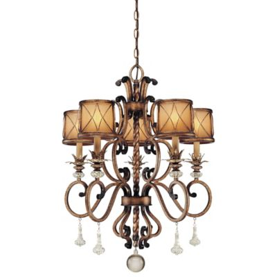 Minka Lavery® Aston Court™ 32-Inch 5-Light Chandelier in Bronze with Glass Shades