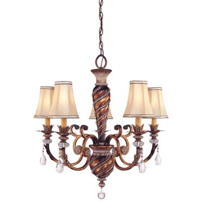 Minka Lavery® Aston Court™ 29-Inch 5-Light Chandelier in Bronze with Fabric Shades