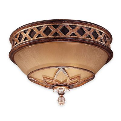 Minka Lavery® Aston Court™ 2-Light Flush-Mount Fixture in Bronze with Glass Shade
