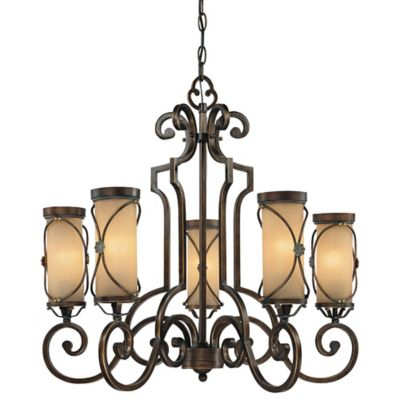 Minka Lavery® Atterbury 5-Light Chandelier in Bronze with Glass Shade