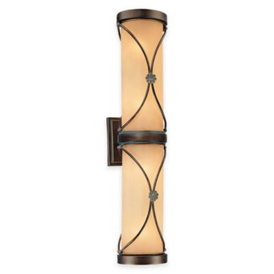 Minka Lavery® Atterbury 4-Light Wall-Mount Bath Fixture in Bronze with Glass Shade