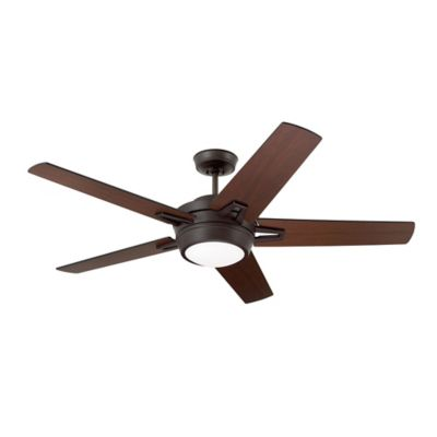 Emerson Southtowne 54-Inch 2-Light Ceiling Fan in Brushed Steel with Dark Mahogany Blades