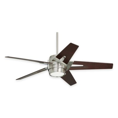 Emerson Luxe Eco 54-Inch Two-Light Ceiling Fan in Brushed Steel with Dark Mahogany Blades