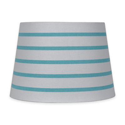 Mix & Match Small 10-inch Striped Hardback Drum Lamp Shade in Teal/White