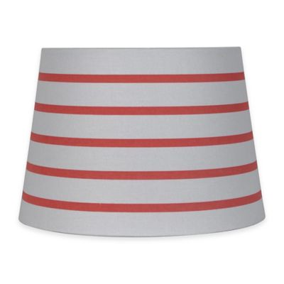 Mix & Match Small 10-inch Striped Hardback Drum Lamp Shade in Coral/White