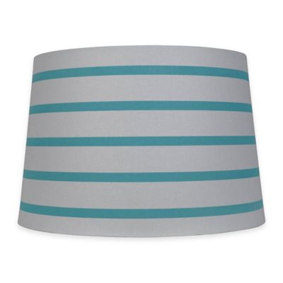 Mix & Match Large 15-inch Striped Hardback Drum Lamp Shade in Teal/White