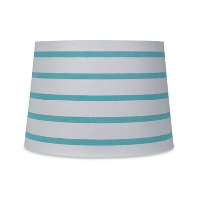 Mix & Match Medium 9-Inch Striped Hardback Drum Lamp Shade in Teal/White