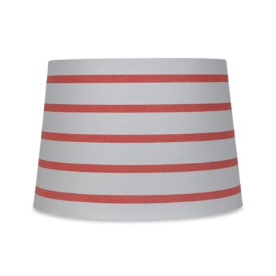 Mix & Match Medium 9-Inch Striped Hardback Drum Lamp Shade in White/Coral