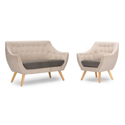 Baxton Studio Astrid 2-Piece Loveseat and Chair Set in Grey