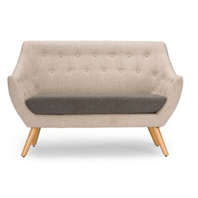 Baxton Studio Astrid 2-Piece Loveseat in Grey
