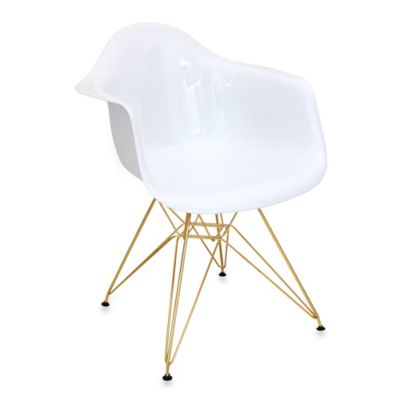 LumiSource Neo Flair Chair in White/Gold
