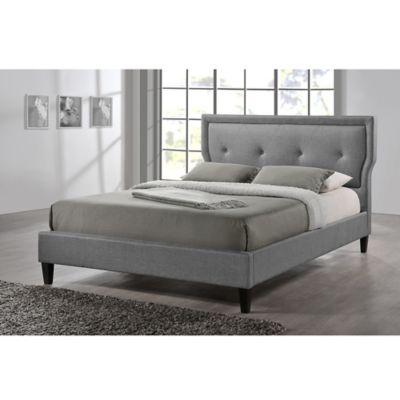 Baxton Studio Marquesa Linen Upholstered Queen Platform Bed in Grey