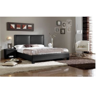Baxton Studio Moderne Faux Leather Queen Platform Bed in Black