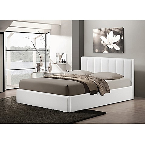 buy baxton studio templemore upholstered queen platform bed with storage in white from bed bath. Black Bedroom Furniture Sets. Home Design Ideas