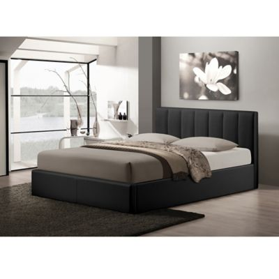 Baxton Studio Templemore Upholstered Queen Platform Bed with Storage in Black