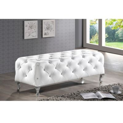 Baxton Studio Stella Crystal Tufted Modern Bench in White
