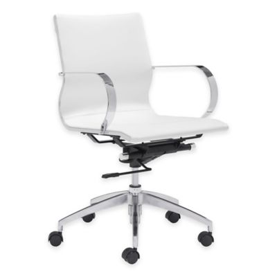 Zuo® Glider Low-Backed Office Chair in White