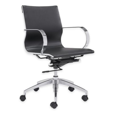 Zuo® Glider Low-Backed Office Chair in Black