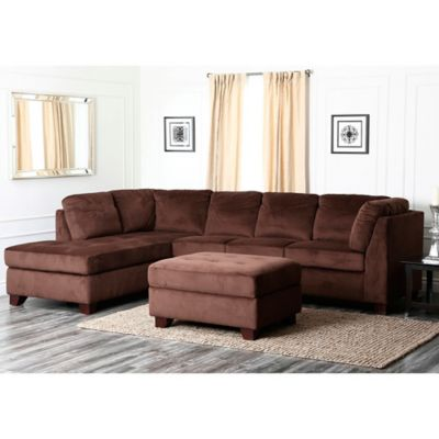 Abbyson Living® Left Arm Facing Delano 3-Piece Sectional in Brown