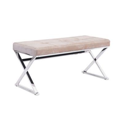 Zuo® Modern Allegiance Bench in Beige Velvet