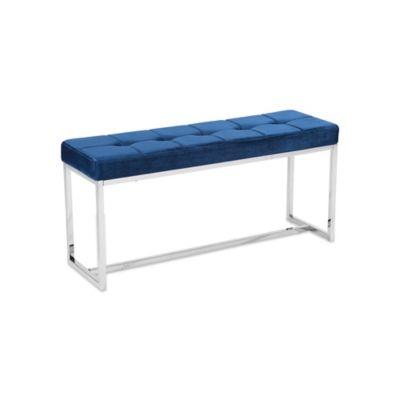 Zuo® Modern Synchrony Bench in Cobalt Blue Velvet