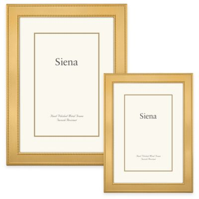 Siena Metallics 4-Inch x 6-Inch Narrow Double Beaded Frame in Gold