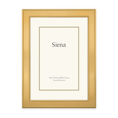 Siena Metallics 5-Inch x 7-Inch Narrow Double Beaded Frame in Gold