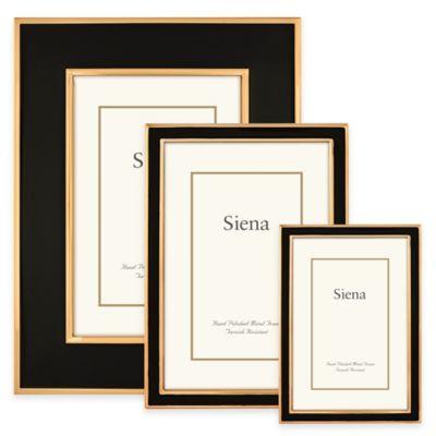 Siena Metallics 5-Inch x 7-Inch Narrow Enamel Frame in Black/Gold