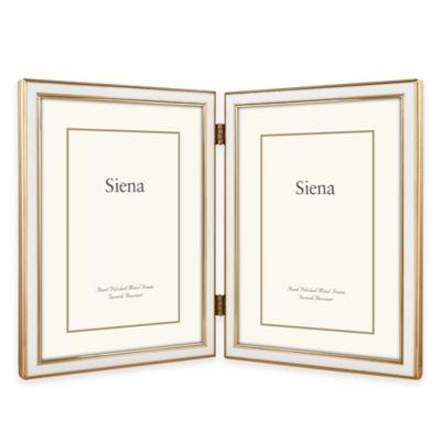 Siena Metallics 2-Photo 5-Inch x 7-Inch Narrow Enamel Frame in White/Gold