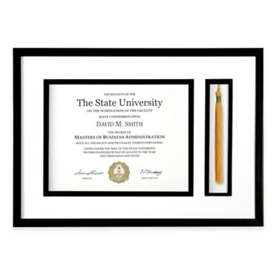 PhotoGuard 18-Inch x 12.75-Inch Graduation Certificate and Tassel Frame in Black