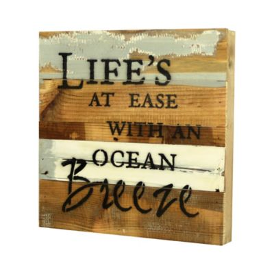 """Life's at Ease with an Ocean Breeze"" Wooden Wall Art"