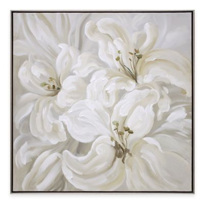 White Lily Flowers Framed Wall Art