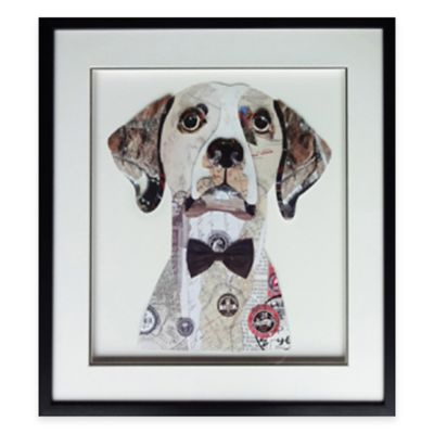 Framed Bowtied Dog Paper Wall Art