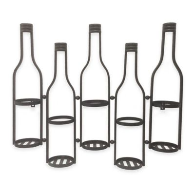 Wall-Mounted Metal Wine Bottle Holder in Black
