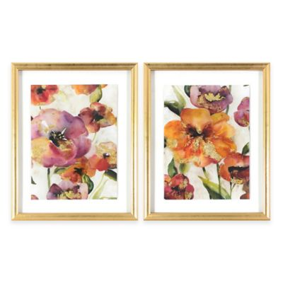 Gold Poppy Punch Shadow Box Framed Wall Art (Set of 2)