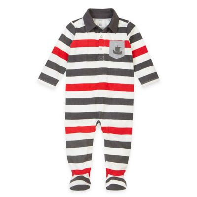 Petit Lem™ Baby Pirate Striped Footie in Navy/Red