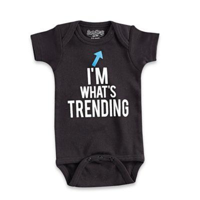 "Sara Kety® Size 0-6M ""I'm What's Trending"" Short Sleeve Bodysuit in Black"