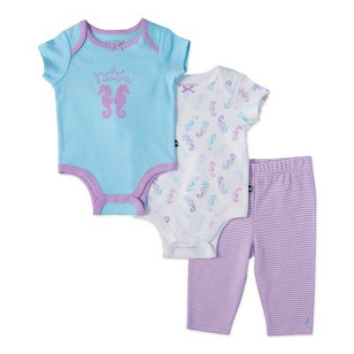 Nautica® Size 3M 3-Piece Seahorses Bodysuit and Pant Set in Purple/Blue