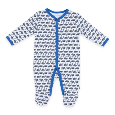 Nautica® Size 3M Snap-Front Whale Print Footie in Grey/Blue