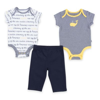 """Nautica® Size 3M 3-Piece """"Dreaming of the Sea""""/Whale Bodysuit and Pant Set in Navy/Yellow"""