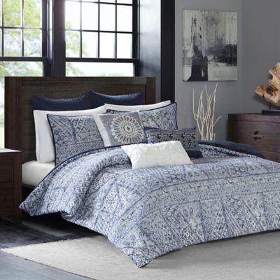 INK+IVY Luna King Comforter Set in Indigo
