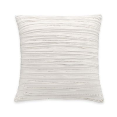 Coastal Life Luxe Coral Ruched Square Throw Pillow in White