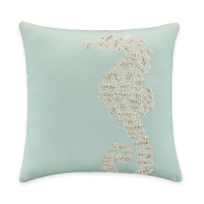 Coastal Life Luxe Coral Beaded Seahorse Throw Pillow in Teal