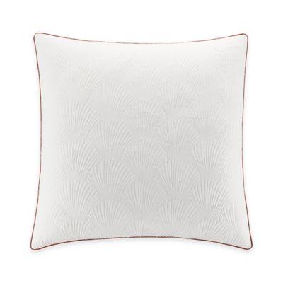 Coastal Life Luxe Coral European Pillow Sham in White