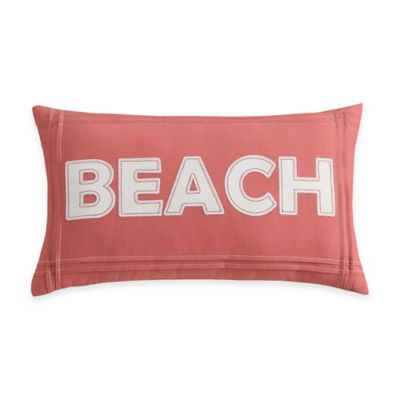 "Coastal Life Luxe Sanibel ""Beach"" Oblong Throw Pillow in Coral"